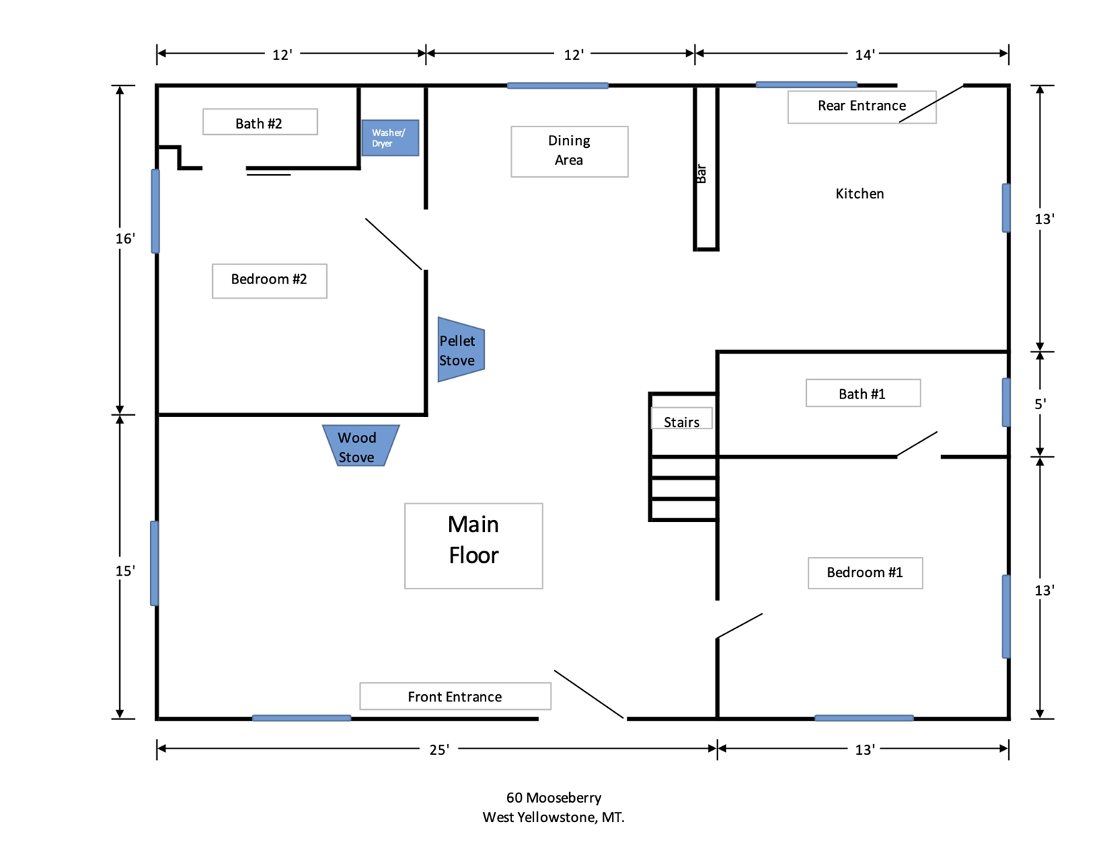 Floor Plan for The Moose Bunkhouse